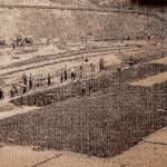 """на будівництві стадіону заводу """"Арсенал"""" (1968р.)"""