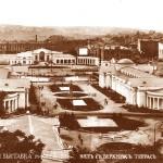 Вид на центральні павільйони виставки з Госпітальної гори, басейн фонтану та арку  центрального входу з  вул. Великої Васильківської