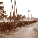 Колона радянських військовополонених на Броварському шоссе (серед них могли бути й футболісти, що приймали участь в обороні Києва)