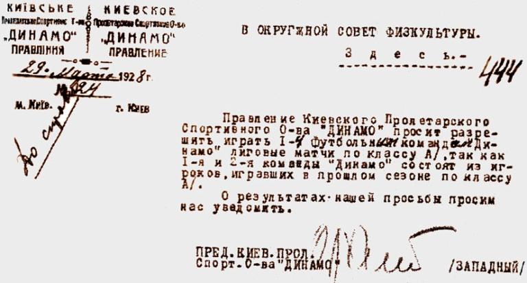 3.Фрагмент листа КПСО Динамо про участь в матчах 29.03.1928